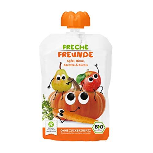 FRECHE FREUNDE Bio Quetschie Apfel, Birne, Karotte & Kürbis, Fruchtmus im Quetschbeutel für Babys ab dem 6. Monat, glutenfrei & vegan, 6er Pack (6x 100  g)