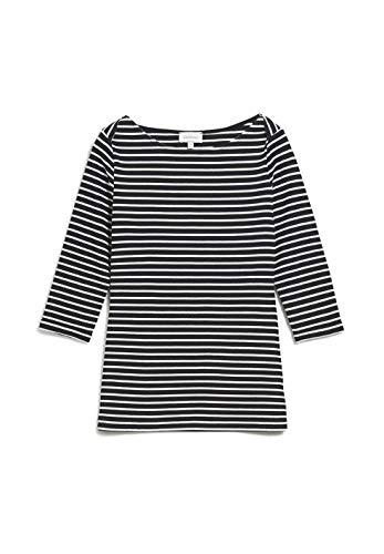 ARMEDANGELS DALENAA Stripes - Damen Longsleeve aus Bio-Baumwoll Mix L Black-Off White Shirts Longsleeve U-Boot Fitted