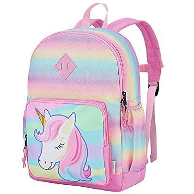VASCHY Mochila infantil para niña, bonito arco iris, impermeable, para preescolar y guardería, con correa para el pecho unicornio Talla única