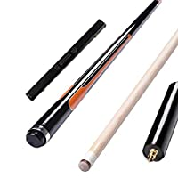 YJTQG プールキュー、58インチ18-21オンス12.75mmメープルビリヤードスティック、3色使用可能、グリップ直径32.5mm / 黒/Pole box
