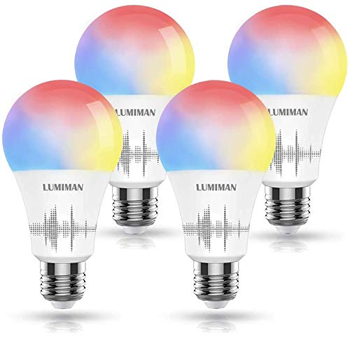 LUMIMAN Smart WiFi Light Bulb, Led RGBCW(RGB+Warm White to Daylight White) Color Changing, Work with Amazon Alexa and Google Assistant & Siri, No Hub Required, A19 E26 Multicolor 4 Pack