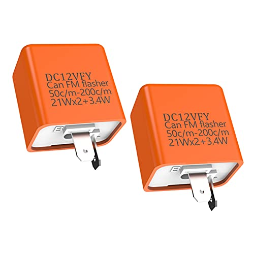 YOKELLMUX Motorcycle Relay 2-Pin 12V Electronic Flasher Relay, Adjustable Speed, Fit for Motorcycle LED Indicator Light(2-Pack,Orange)