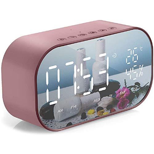 Wekkerradio Digitale draadloze Bluetooth-luidspreker Bureau Tafelklokken Usb-oplader Thermometer Grote spiegel Led dimbaar display