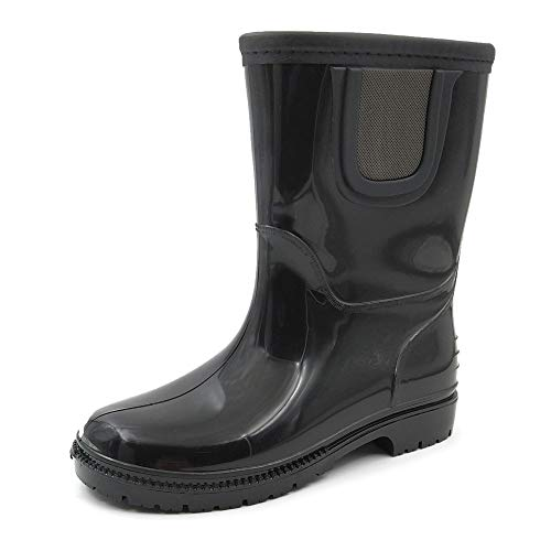 Amoji Kid Rain Chelsea Boots Rubber Wellies Kids Children Waterproof Boots Children Baby Child Infant Girl Boy Toddler Outdoor Easy On JT28 Black 12.5-13 Little Kid