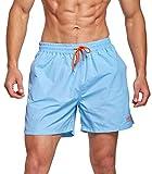ZOXOZ Costume da Bagno Uomo Asciugatura Veloce Calzoncini da Mare Beach Pantaloncini da Bagno Elastico a Vita Fodera Rete con Taschino e Coulisse Trunks Cielo Blu L