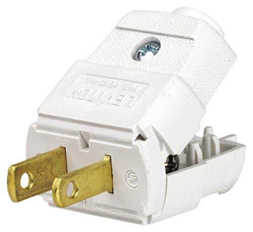 Leviton 101-WP 15 Amp, 125 Volt, NEMA 1-15P, 2P, 2W, Plug, Straight Blade, Residential Grade, Polarized, Non-Grounding, White