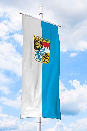 Deitert Bundesland-Flagge Bayern – 80x200 cm Bayern-Flagge mit Wappen (Raute), Bannerfahne aus reißfestem Polyester, Bayern-Fahne mit Doppelsicherheitsnaht gesäumt