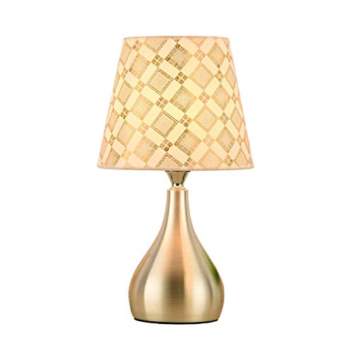 Yyqx lámpara de Mesa Lámpara de mesilla de Noche Tela de impresión de PVC Pantalla de Dormitorio Luz de Mesa de Aluminio Simple Lámpara de Escritorio Dormitorio Sala de Estar