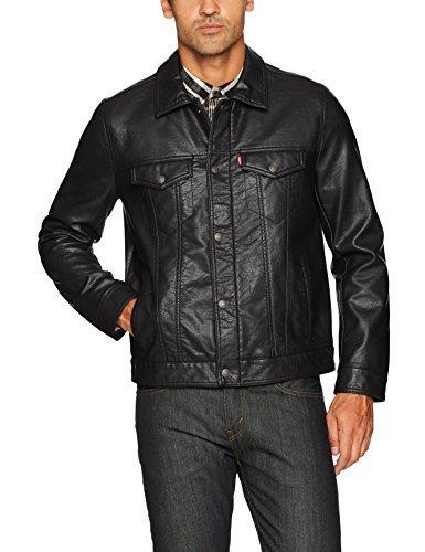 Levi's Men's Vintage Pebbled Cow Faux Leather Classic Trucker Jacket, Black, Small