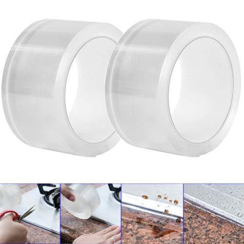 Gebildet 2 Stücke PVC Bad Versiegelungsmittel Tape, Acryl Abdichtungsband Wand Dichtungsband Wasserdicht Band, Küche Herd Spaltdichtungen (5CM × 3M, Transparent)