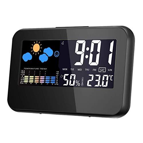 Alomia Nuevo Reloj Despertador Universal Digital, Multi función de Hora, Fecha, Temperatura, Porcentaje…