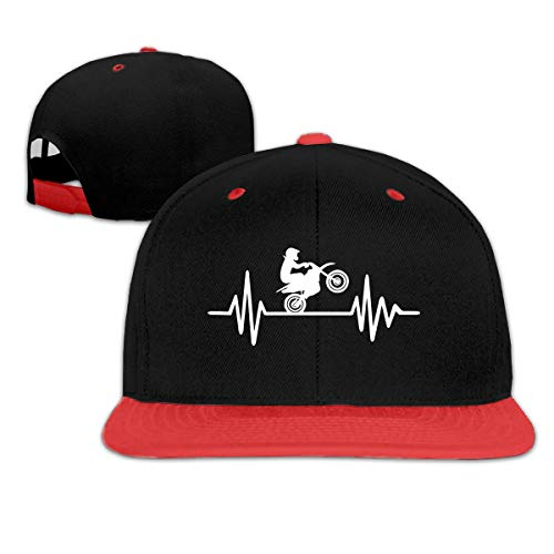 Dirt Bike Motocross Hip Hop Baseball Cap, Unisex Solid Flat Bill Adjustable Snapback Hats Red