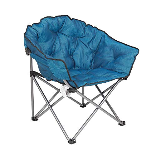 Mac Sports Heavy Duty Steel Frame Collapsible Folding Portable Padded Outdoor Club Camping Chair with Carry Bag, Blue