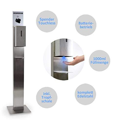 MyMAXXI | Hand Desinfektionsmittelspender Station Sensor STEEL Edelstahl Spender Set 1x 1L Desinfektionsmittel stehend automatisch | touchless disinfection Desinfektionsspender Standfuß Dosierpumpe