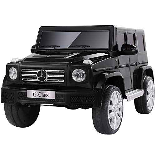 METAKOO Licensed Mercedes-Benz G500 Electric Car for Kids, 12V Ride On Car with Powerful Wheels, Remote Control/ Suspension/ Horn/ Music/ LED/ USB/ AUX, Safety Belt & Lockable Doors for Toddlers-Black