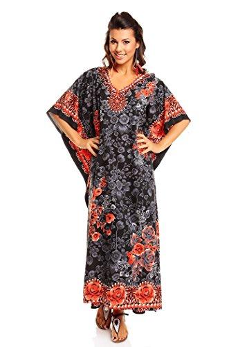 NEU Damen überdimensional Maxi Kimono Kaftan Tunika Kaftan Kleid gratis, Schwarz, Gr. 38-44 (Etikett: 27 inch)