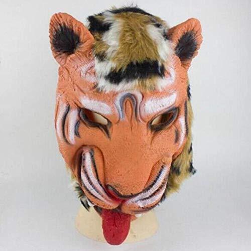 XWYWP Mscara de Halloween Animales Miedo Lobo Len Tigre Cabeza de la Cubierta Mscaras Guantes Adultos Hombres Mujeres Cosplay Rendimiento Masquerade Props Fiesta Halloween Tigre