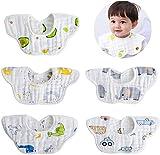 Bebamour Baby Bandana Drool Bibs for Baby Girl 100% Organic Cotton Baby Bibs 360° Rotatable Bibs for Baby Boy (5 Packs)(Multicolor-2)