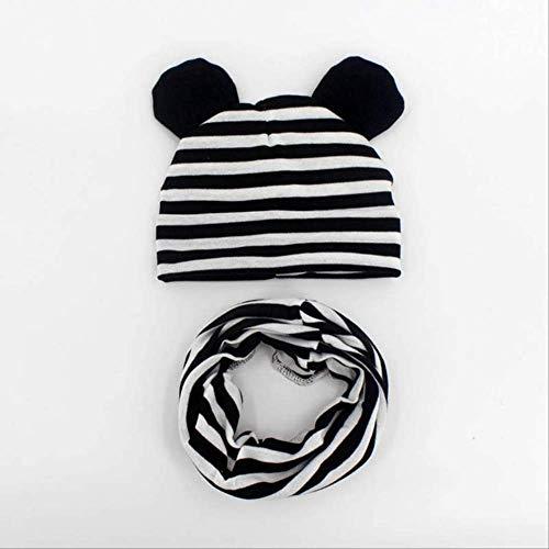 Primavera y otoño Sombrero para bebé Bufanda Sombrero de Color sólido Niño Niña Algodón Tejido Niño Guisantes Bufanda Raya Estilo 2
