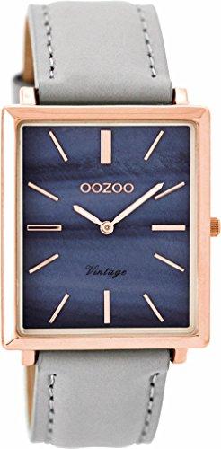Oozoo Vintage dameshorloge plat rechthoekig lederen band 31 mm Rose/Parelmoer Blauw/Grijs C8186