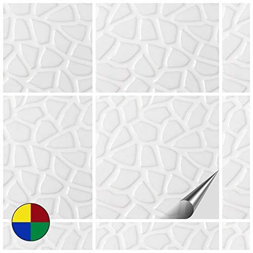 FoLIESEN Fliesenaufkleber Küche u. Bad-15x15 cm Stein-80, PVC, Dekor Weißer Stein, 80 Stück