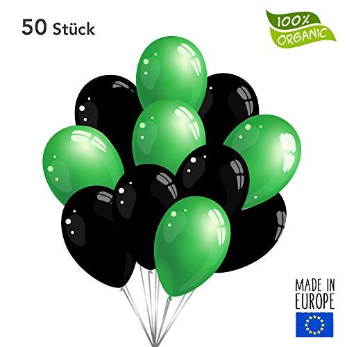 Twist4 50 Premium Luftballons in Grün/Schwarz - Made in EU - 100% Naturlatex und 100% biologisch abbaubar - Geburtstag Party Verein Fußball Karneval - für Helium geeignet