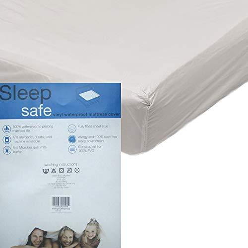 NCS Vinyl Plastic Heavy Duty Mattress Protector Waterproof Washable Fitted Sheet (Single)