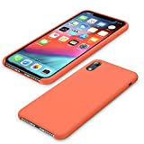 AnsTOP Silicone Case for iPhone XR, [Ultra Slim] Anti-Slip Liquid Silicone Gel Rubber Shockproof Cover with Soft Microfiber Cloth Cushion for iPhone XR 6.1'(2018) - Nectarine