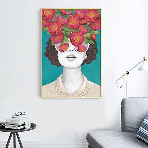 wZUN Decoración para el hogar Lienzo Pintura Retratos Carteles e Impresiones de Chicas Sexy con murales de Flores de Pared de Sala de Estar 60x80 Sin Marco