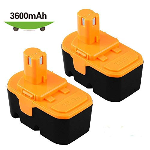 [Upgraded 3600mAh] P100 Replacement for Ryobi 18V Battery One+ P101 ABP1803 1322401 1400672 13022 1323303 130255004 130224028 130224007 Cordless Power Tools - 2 Packs