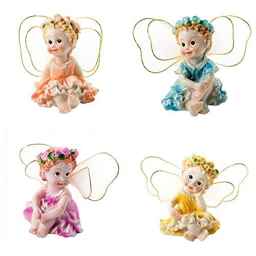 DAWEIF 4 Pcs/Set Fairy Garden Micro Landscapes Resin Child Fairies Dollhouse Bonsai Miniature Figurine Decor Crafts Ornament