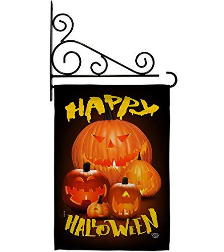 Halloween Pumpkin Patch Garden Flag - Set Wall Holder Fall Witch Trick...