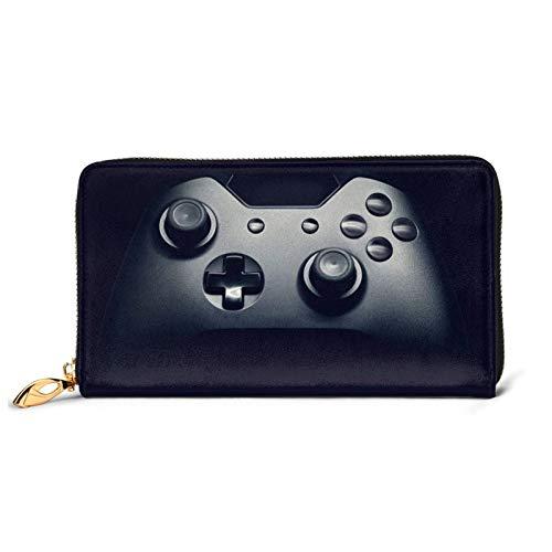 Controlador de juegos patrón de cuero impreso cartera mujeres cremallera bolso embrague bolsa viaje tarjeta de crédito titular monedero, Black (Negro) - Black-48