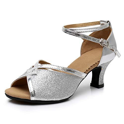 Tomwell Zapatos de Baile Latino de Tac/ón Alto Medio para Mujer Zapatillas de Sal/ón Salsa Performance Calzado de Danza