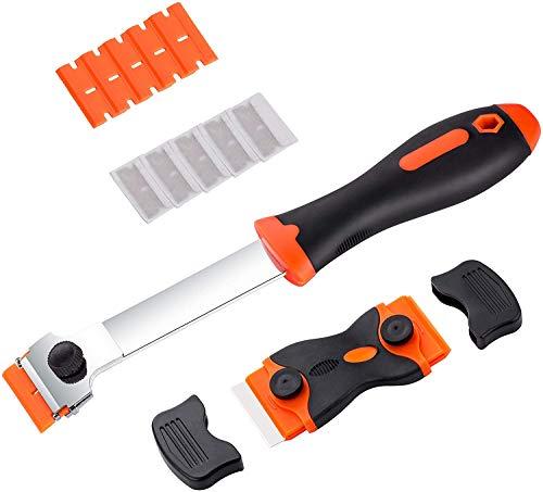 Rasqueta para vitrocerámica multiusos, Rascador de Vidrio y vitrocerámica con 20pcs Acero Inoxidable Cuchillas y 10pcs cuchillas plástico,para plástico o cristal ect.