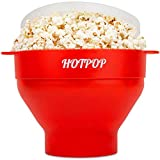 The Original Hotpop Microwave Popcorn Popper -17 Color choices, Silicone Popcorn Maker, Collapsible Bowl Bpa Free and Dishwasher Safe- 17 Colors Available (Red)