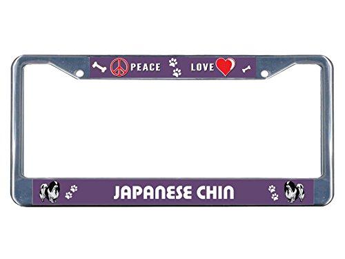 Kennzeichenrahmen, japanischer Kinnhund, Peace-Love, verchromtes Metall, ideal für Männer, Frauen, Auto-Garadge Dekor