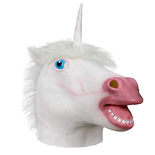 supremask Disfraz de Unicornio Disfraz de Cabeza de Caballo Animal de Halloween Disfraz de ltex Lindo Divertido Novedad Cosplay Accesorios Fiesta de Disfraces (Unicornio Blanco)