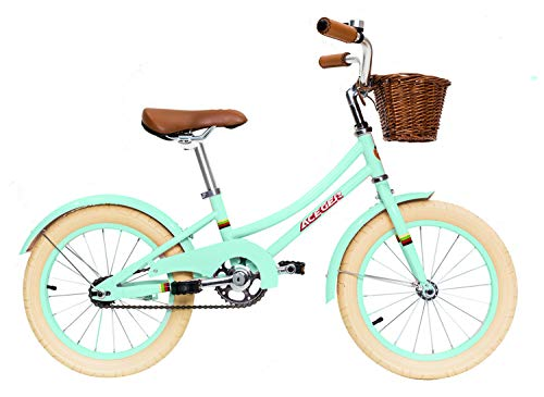 ACEGER Girls Bike with Basket for Kids 3 to 5 Years Old, 14 inch with Training Wheels (Spring Green, 14 inch)