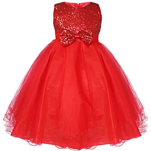 IEFIEL Vestido Elegante de Fiesta para Niña Vestido Princesa Lentejuelas de Dama de Honor Vestido Cóctel Flores de Boda Ceremonia Rojo A 9-10 años