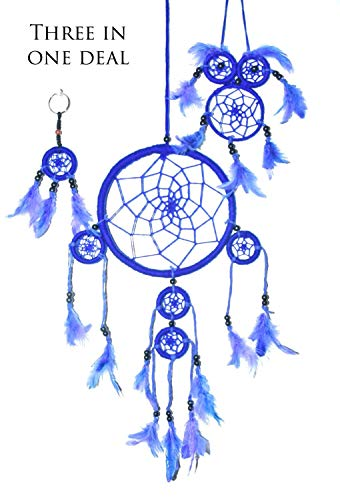 Handmade Dream Catchers Authentic Indian Traditional Native American Circular Net with Feathers Wind Chimes For Car Medium Owl Dream Catcher For Kids Bedroom Large and Small Key Chain. (Blue)