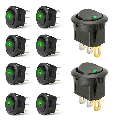 Interruptor Basculante Interruptores Redondos 12V On/Off Auto Boton Interruptor AutomáTico Interruptor Spst 20A DC Para Coche, Barco, Camión, Remolque 10 Piezas