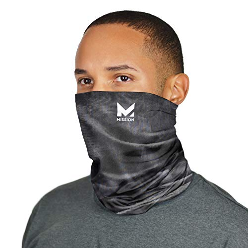 MISSION Cooling Neck Gaiter Customize Your Coverage, Face Mask, Cools When Wet- Pulse Triple Black