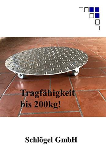 Pflanzenroller rund bis 200kg Metall Blumenroller Untersetzer Indoor Outdoor Alu (3,5/5 Aluminium Riffelblech, Ø500mm)