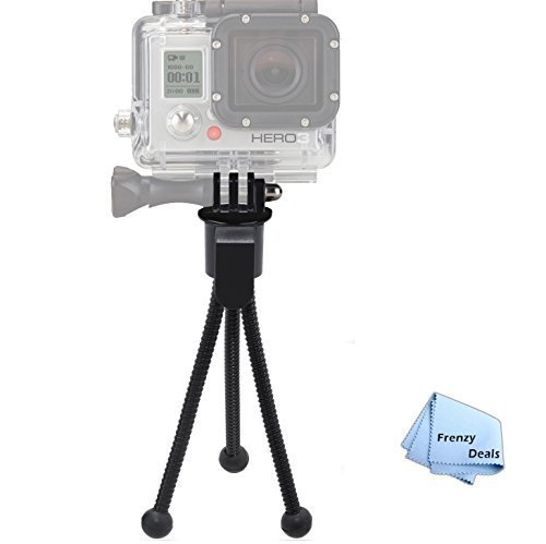 "5"" Inch Mini Tripod with Flex, Spider Legs for All GoPro Hero Cameras + Frenzy Deals Microfiber Cloth"