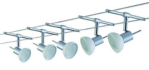 Paulmann Leuchten Wire System Sheela 105, 5 x 20 W GU5.3, 230 / 12 V, 105 VA Metall Glas, chrom matt / opal 97532