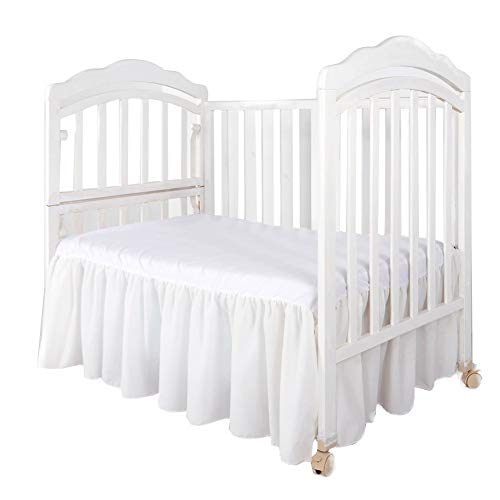 Dust Ruffle with Split Corners - 100% Cotton - for Nursery Crib Toddler Bedding Crib Bed Skirt for Baby Boys or Baby Girls, 14' Drop (White)