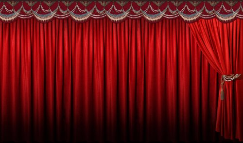 P160202-0 Foto-Tapete Vlies-Wandbild Theatervorhang Kinovorhang rot