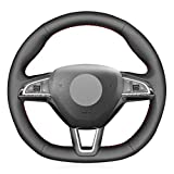 NsbsXs Für Skoda Octavia RS Citigo Fabia Scala Karoq Kodiaq Citijet Superb 2015 2019 Schwarz PU Lenkradabdeckung
