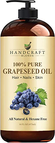 Handcraft Grapeseed Oil – 100% Pure and Natural – Premium Therapeutic Grade Carrier Oil for Aromatherapy, Massage, Moisturizing Skin and Hair Huge – 16 fl. oz